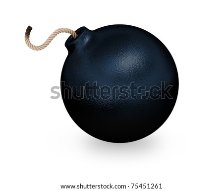 Black vintage bomb. Isolated on white background.3d rendered.