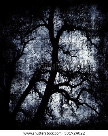 Black Vintage Grunge Background, Landscape With Scary Tree, Halloween Wallpaper