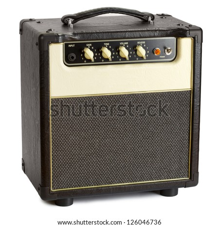 black vintage guitar aplifier, isolated on white - stock photo