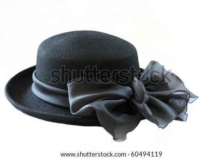 black vintage hat isolated - stock photo