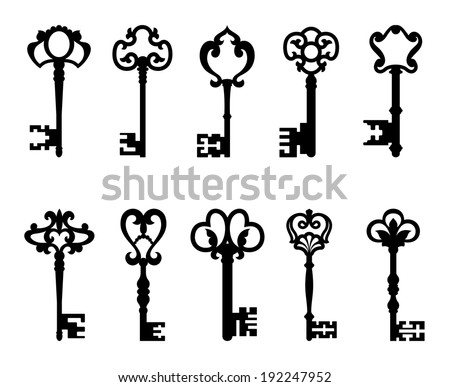 Black vintage keys set isolated on white background for retro design or safety concept. Vector version also available in gallery - stock photo