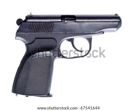 black vintage pistol isolated on white - stock photo