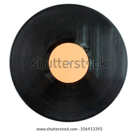 Black vinyl record isolated on white