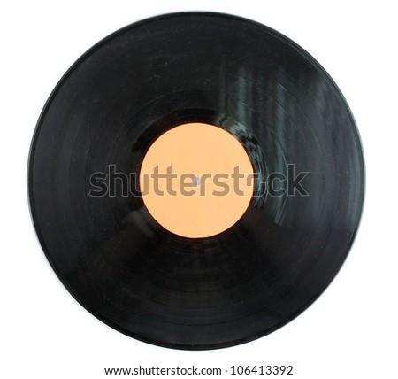 Black vinyl record isolated on white - stock photo