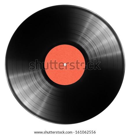 Black vinyl record isolated on white background - stock photo