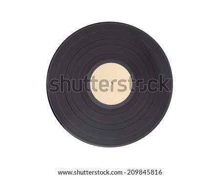Black vinyl record lp album disc - isolated long play disk with blank label - stock photo