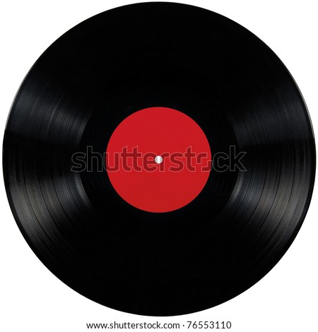 Black vinyl record lp album disc; isolated long play disk with blank label in red