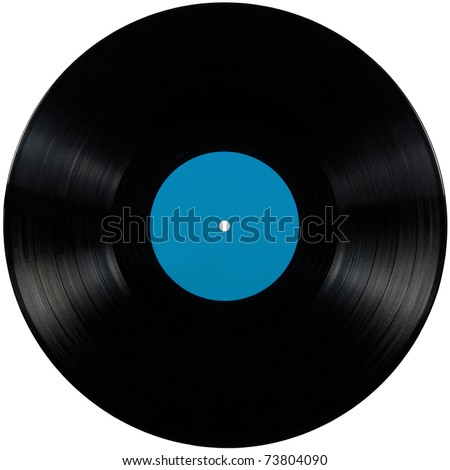 Black vinyl record lp album, vintage disc; isolated long play disk with blank label in cyan blue - stock photo