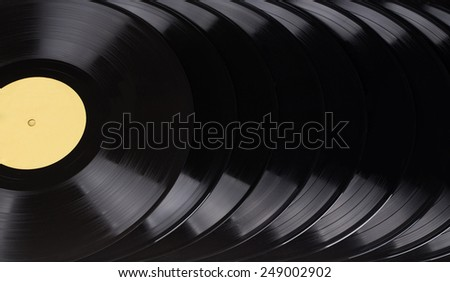 black vinyl records located as a whole background closeup - stock photo