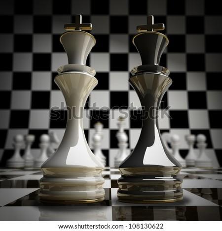 Black vs wihte chess king background 3d illustration. high resolution - stock photo