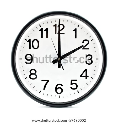 Black wall clock - stock photo