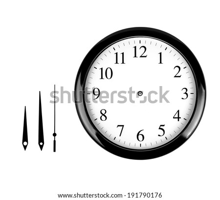 Black wall clock isolated on white background - stock photo