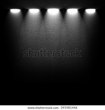 black wall with spotlight - stock photo