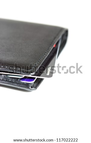 Black wallet and closeup platinum cards