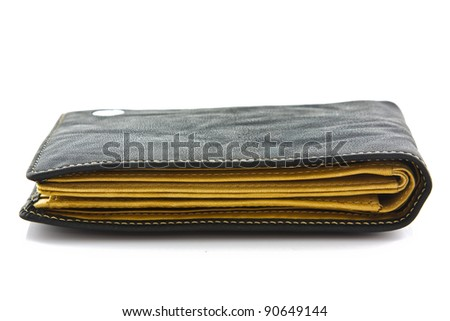 black wallet on white isolated - stock photo