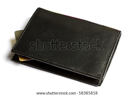 Black wallet with Credit card isolated on white