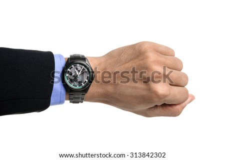black watch on men's wrist over white background - stock photo