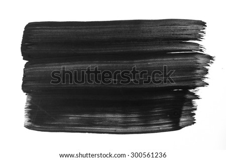 black watercolor painted texture on white background paper - stock photo