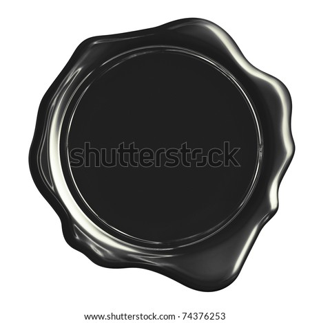 Black wax stamp (clipping path) - stock photo