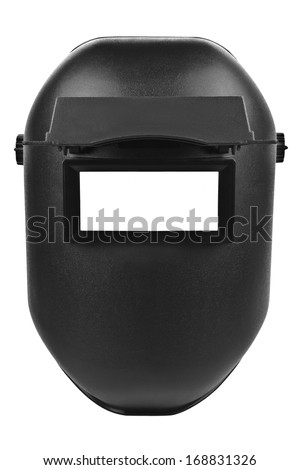 black welding mask isolated on pure white background