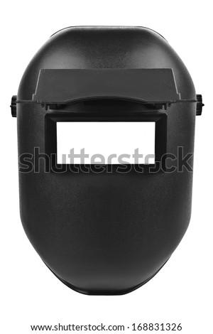 black welding mask isolated on pure white background - stock photo