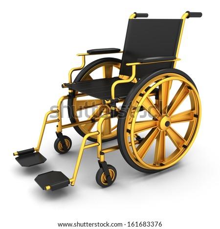 Black wheelchair on a light background - stock photo