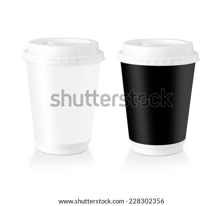 Black & White Disposable Coffee Cup With Blank Label  Isolated On White Background. - stock photo
