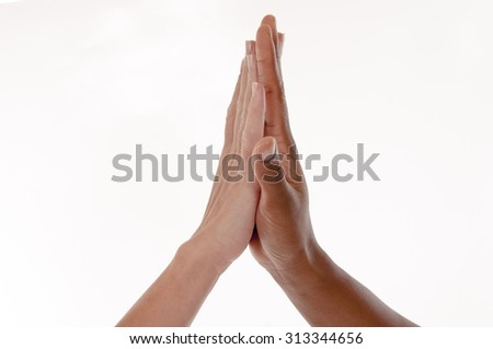Black-white Give me five gesture - isolated on white background, hands: unity - stock photo