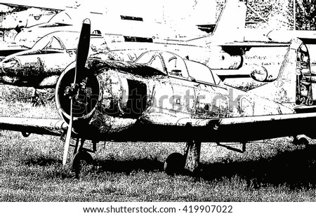 Black-white illustration of the old military propeller airplane close up view - stock photo