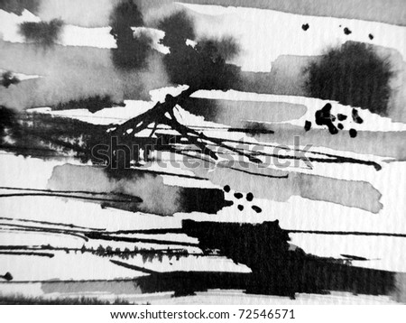 Black & White Ink Abstract 2 - stock photo