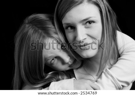 Black & White Mother Daughter Portrait