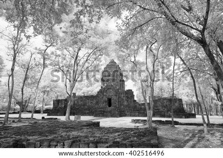 Black & White,  Muang Sing Historical Park, Thailand taken in Near Infrared - stock photo