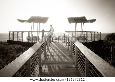 black-white photo with railing paths viewing platform