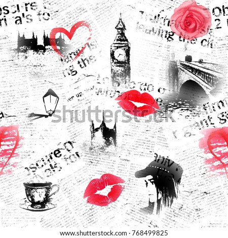 Black White Pink Red Newspaper London Grunge Background Seamless Texture With Hand Drawn Symbols Of