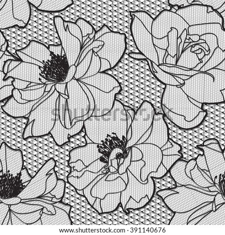 Black white rose lace design background, ornamental flowers band Abstract Lace Ribbon Seamless Pattern. Template frame Lace Doily. Floral background border raster illustration - stock photo