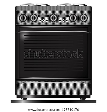 black white stove isolated on the white background raster