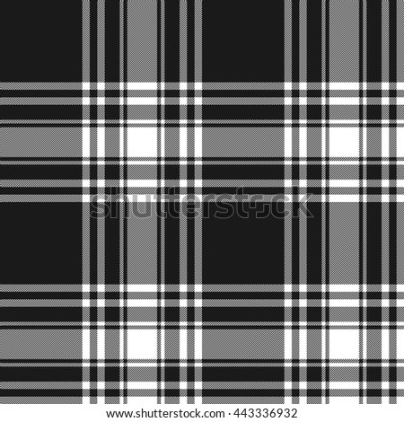 Black white tartan kilt skirt fabric texture seamless pattern
