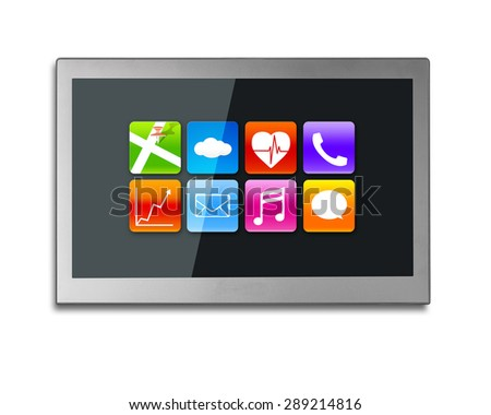 Black wide flat TV screen with colorful app icons, isolated on white background. - stock photo