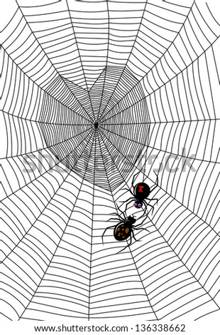 Black widow spider spinning a heart shape trap. Raster - stock photo