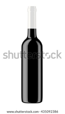 Black wine bottle with white plug isolated on white background. 3D Mock up for your design.