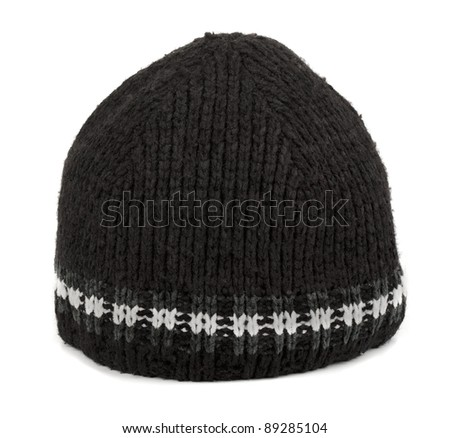 Black winter  tuque isolated on white - stock photo