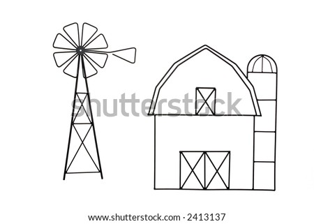 Black Wire Barn and Windmill Isolated on White Background - stock photo