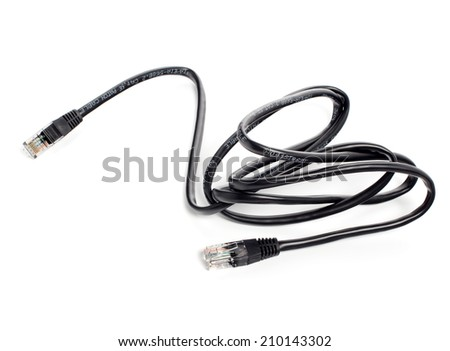 Black wire rj-45 on a white background, isolated - stock photo