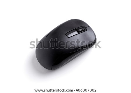 black wireless computer mouse isolated on a white background