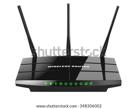Black wireless router Wi-Fi isolated on white background 3d - stock photo