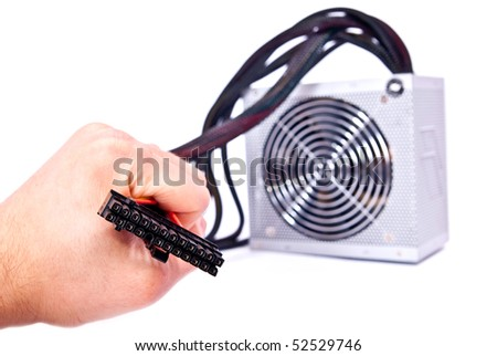 Black wires in man hand on white background