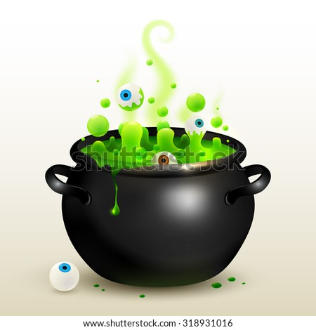 Black witches cauldron with green magic potion and eyes