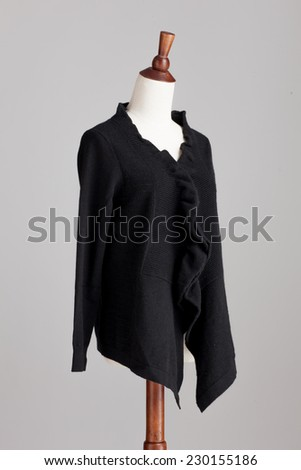 black woman cashmere sweater with wood model on grey isolated