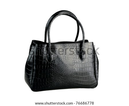 black woman handbag made of genuine leather isolated on white - stock photo