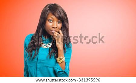 black woman isolated - stock photo